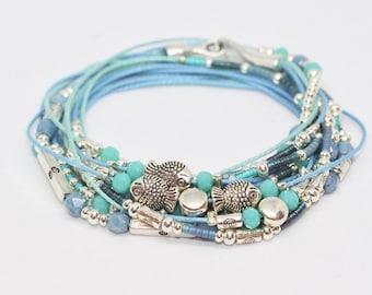 Bracelet links beads Turquoise Blue