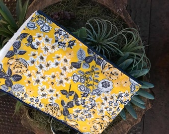 Navy/Yellow Floral Burp Rag