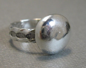 Sterling silver statement with 14mm sterling silver granule, Size 6,  artisan handmade sterling silver ring