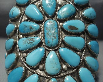 Ostentatious Vintage Navajo Turquoise Sterling Silver Bracelet!