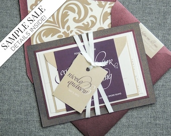 "Burgundy Wedding Invitations, Luxury Wedding Invitation, Layered Invite, Purple Calligraphy Invitations - ""Dramatic Script"" FP-2L-v1 SAMPLE"