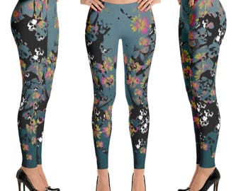 Colorful Skull Leggings, Skull Pants, Crazy Pants, Grunge Leggings, Roller Derby Leggings, Workout Leggings, Funky Leggings, Skull Clothing