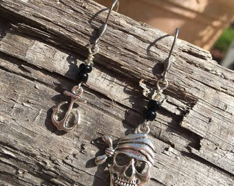Pirate Earrings | Jolly Roger | Pirate and Anchor | Gasparilla | Pirates of the Caribbean