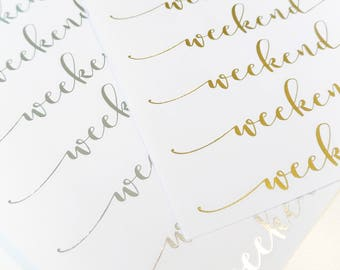 Foiled Script Weekend Banners | Planner Stickers | Foiled stickers