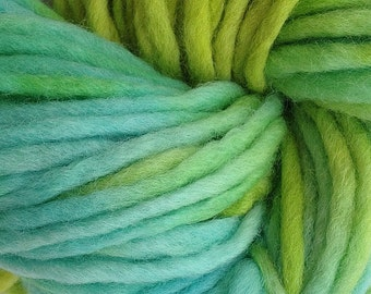 Bulky / Chunky Weight Hand Painted Wool Yarn Pencil Roving in Lime Ice 60 yards Green Aqua