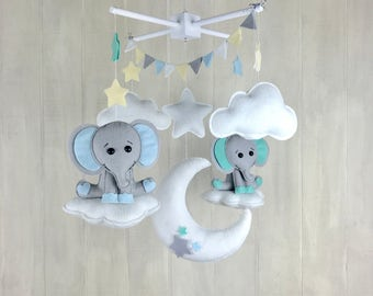 Baby mobile / elephant mobile - nursery decor  - twin mobile - star mobile - cloud mobile - moon mobile