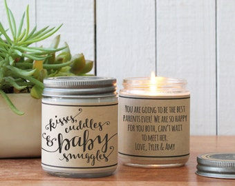 Gift for new parents etsy kisses cuddles baby snuggles candle gift negle Image collections