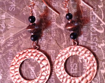 Copper textured earring