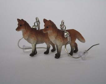 Red Fox Dangle Earrings (Sterling Silver or Nickle Free)