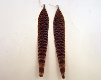 Native style Feather Earrings Natural Pheasant tribal