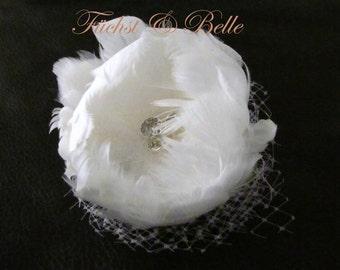 White Bridal Fascinator, Wedding Hair Accessories, Bridal Beadpiece, White Goose Feather with rhinestone - Swan