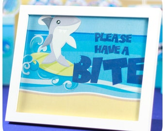 Shark Party; Shark Party; Shark Birthday Party; Shark Birthday; Birthday Party; Shark Birthday Party Signs printed, cut, and shipped to you!
