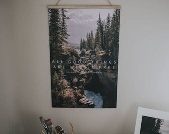 Spring Decor Mountain Waterfall Photographic Wall Hanging Print with Quote