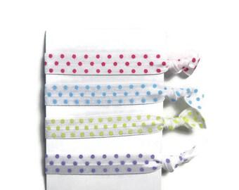 Polka Dot Hair Ties, Easter Hair Tie Set, Girls Hair Ties, Women's Hair Ties, Ponytail Holders