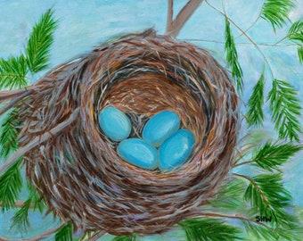 "Nest 2, 11""x14"" Original Painting by Sarah Wynne, Spring Landscape"