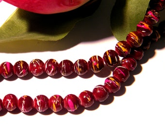 50 glass beads 6 mm drawn - glass bead - glass beads - bordeaux - H12-2
