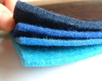 wool Polyester blend felt set, thickness 3mm, 30cm x 30cm x 17 sheets,17 colors,