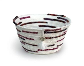 Basket, Fabric Bowl, Clothesline Basket, Coiled Rope Basket, Fiber Art Basket, White Maroon Fabric Bowl, Ornate Heart Charm, Woven