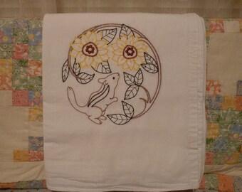 Chipmunk and Sun Flowers Flour Sack Dish Towel