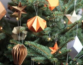 Foldbaubles, DIY, flatpack, paper, Christmas decoration, baubles