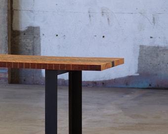 reclaimed wood dining table with custom fabricated steel legs - modern industrial, modern rustic, fox island dining table, urban salvage