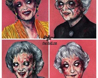 "Print 11x14"" - Zombie Golden Girls - Zombies Vintage Horror Dark Art Funny Pop Art Vintage Gay Gothic 80s TV Pink Lowbrow Blood Vampire"
