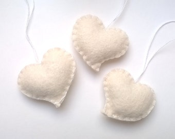 White heart ornament - wedding favors - felt ornaments - Birthday/Christmas/Baby/It's a Girl/Housewarming home decor