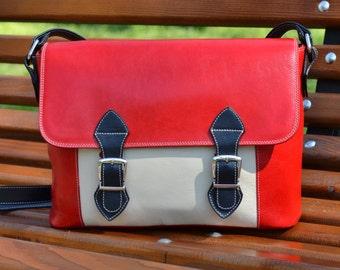 Red Leather Bag, Leather Messenger Bag, Leather Shoulder Bag, Leather School Bag,Leather Messenger,Leather Handbag, Leather Crossbody Bag