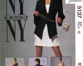 McCall's 5137 NY Collection Sewing Pattern for Misses' Lined Jacket, Bolero Jacket and Dress - Uncut - Size 12