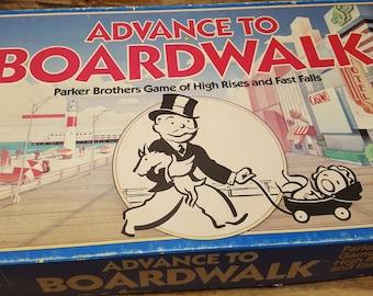 Advance to Boardwalk, 1985 Monopoly, Parker Brothers, vintage board game