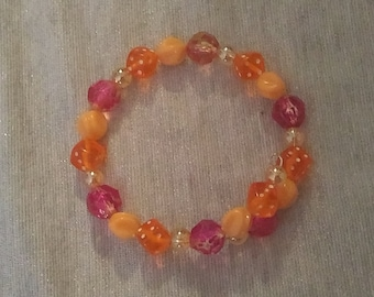 Orange Dice with Red and Orange Beaded Wraparound Bracelet