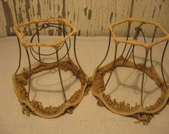 Pair Of Small Early Victorian Style Boudoir Lampshades With Original Fringe So Shabby Chic Boho
