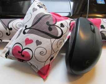 Hot/ Cold Aromatherapy Keyboard and Mouse Wrist Supports Swirl Hearts
