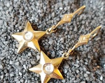 10K Yellow Gold Star Leverback Dangle Earrings (st - 2171)