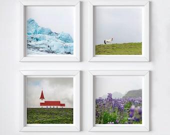 Iceland print set of 4 - One free! - Minimal photography prints - Travel wall decor - Matching set - Small art gift - stocking stuffer - 5x5