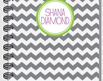 Personalized Notebook, Chevron pattern-customize color and name! Blank book, spiral notebook, school notebook,cute journal,custom notebook
