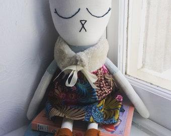 Handmade heirloom cloth doll, kitty doll, linen doll, baby shower gift, nursery decor