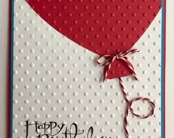 Handmade Red Balloon Birthday Card