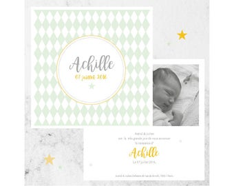 Argyle birth announcements, graphic and modern boys, personalize