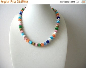 ON SALE Retro Colorful Glass Beads Shorter Length 15 Inch Necklace 70816D