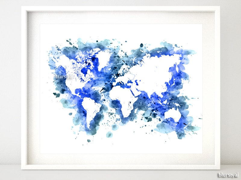 Watercolor world map printable 20x16 10x8 navy zoom gumiabroncs Images