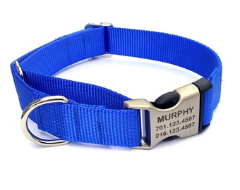 Buckle Martingale Webbing Dog Collar with Laser Engraved Personalized Buckle
