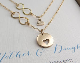 Mother daughter necklace - mother daughter jewelry - infinity heart charm - 14k gf chain - gift for mom