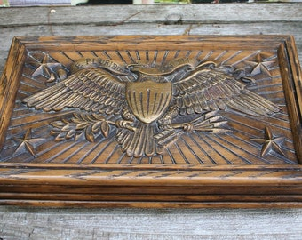 Avon Cologne Jewelry Trinket Box/Chest FAUX Wood Embossed Eagle And Stars