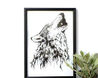 Howling wolf A4 print // Home decor art // illustration print // Black and white art // Animal illustration // wolf illustration //wall art