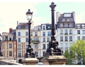 Paris photography, Paris lamp post, Paris bridge, travel photography, Paris home decor, Paris architecture, French wall art, 16x20 art print