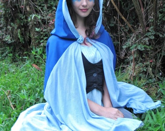 Blue Hooded Cape Elven Fairy