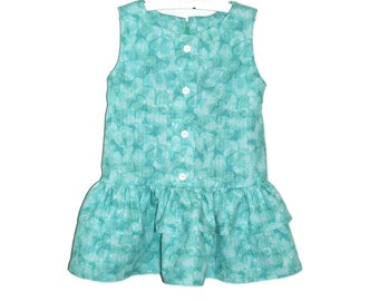 Girl's Dress, Aqua and White Butterfly Print Dress/Jumper/Sundress With Ruffled Skirt, Easy Care 5 Colors, Size 2-6