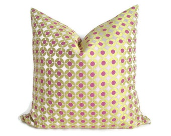 Pillow Cover Pink Dots on Pale Pink w/ Gold Woven Both Sides Zipper