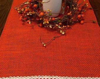 "Brilliant orange burlap table runner with crochet trim 14 x 40"" for Thanksgiving, holidays"